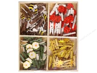 Clothespins: Lara's Wood Painted Mini Clothespin Assorted Garden