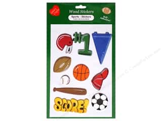 Sport Solution $3 - $4: Lara's Wood Stickers Sports 10 pc.