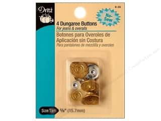 Jean Buttons: No Sew Dungaree Buttons by Dritz Gilt 4pc.