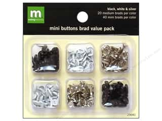 Metal Making Memories Charms: Making Memories Brads Value Pack Buttons Black & White