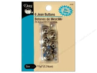 Jean Buttons: Dritz Jean Buttons Nickel 6 pc