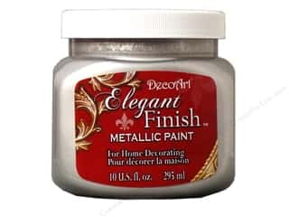 DecoArt Elegant Finish Paint 10oz: DecoArt Elegant Finish Paint 10oz Mtlc Shimmer Silver