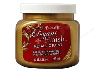 acrylic paint: DecoArt Elegant Finish Paint 10oz Mtlc Glrs Gld