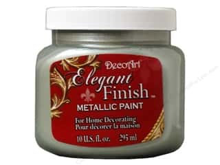 acrylic paint: DecoArt Elegant Finish Paint 10oz Mtlc Silver Sag