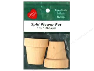 Lara&#39;s Wood Flower Pot Split 1 1/2&quot;x 1 5/8&quot; 2 pc