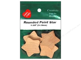 "Lara's Wood Star Rounded 1 3/8"" 4 pc"