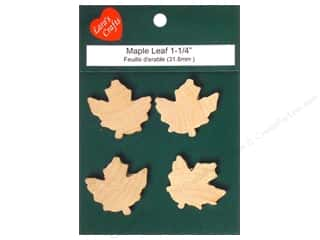 "Lara's Wood Maple Leaf 1 1/4""x 1 1/4"" 4 pc"
