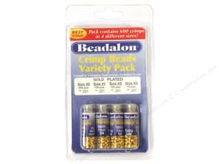 Beadalon Crimp Bead Variety Pk Gold Plate 600 pc