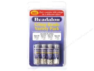 Beadalon Crimp Bead Variety Pack Silver Plated 600pc