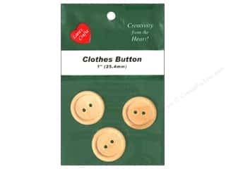 "Lara's Wood Clothes Button 1"" 3 pc"