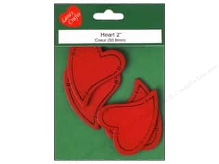 "Lara's Painted Wood Primitive Heart 2"" Red 4 pc"