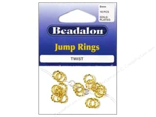 Beadalon Jump Rings/Spring Rings: Beadalon Jump Ring Twist 8mm Gold Plated 16 pc