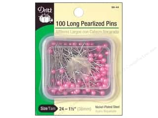 Long Pearlized Pins by Dritz Size 24 Pink 100pc.