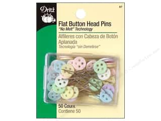 "straight pins: Dritz Sharp Pins Flat Head Buttons 2"" 50 pc"
