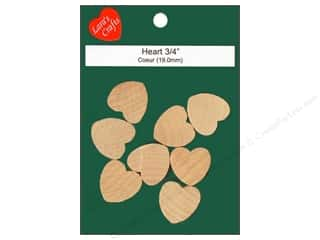 Wedding $3 - $4: Lara's Wood Heart 3/4 in. 8 pc.