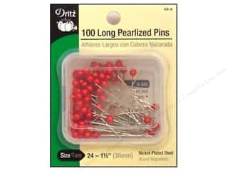 Long Pearlized Pins by Dritz Size 24 Red 100pc.
