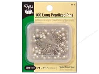 Long Pearlized Pins by Dritz Size 24 White 100pc