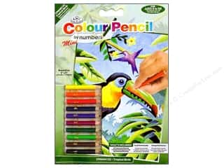 Kid Crafts Blue: Royal Colour Pencil by Number Mini Tropical Birds