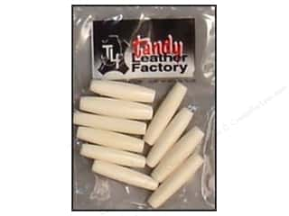 "Leather Factory Pipe Bead Bone Hair 1"" White 10pc"