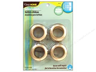 plastic curtain grommets: Dritz Home Curtain Grommets 1 in. Round Matte Gold 8pc