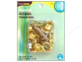 metallic curtain grommets: Dritz Home Grommet Kit 7/16 in. Round Brass 10pc