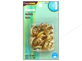 metallic curtain grommets: Dritz Home Curtain Grommets 7/16 in Round Brass 10pc
