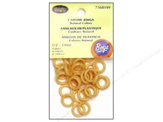 "Boye Cabone Rings 1/2"" Light Brown 30pc (3 packages)"