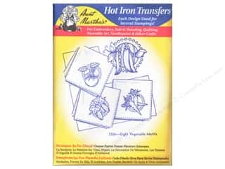 Fruit & Vegetables paper dimensions: Aunt Martha's Hot Iron Transfer #3286 Blue Eight Colorful Vegetable Motifs