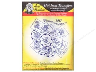 Captions Yarn & Needlework: Aunt Martha's Hot Iron Transfer #3813 Black Flower of Month