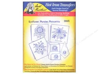 Captions Yarn & Needlework: Aunt Martha's Hot Iron Transfer #3865 Blue Sunflower, Pansies, and Poinsettia