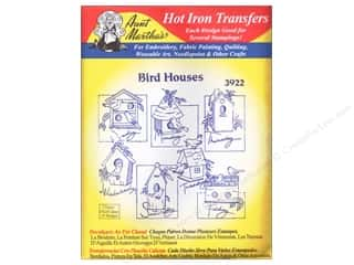 Captions Yarn & Needlework: Aunt Martha's Hot Iron Transfer #3922 Red Birdhouses