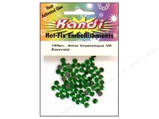 Dolls and Doll Making Supplies Green: Kandi Crystalique Crystal 4mm Emerald 100 pc