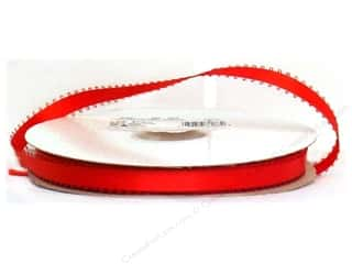 "Offray Ribbon Featheredge Dblfce Satin 3/8"" Red (50 yards)"