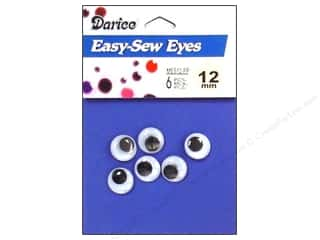 Eyes: Googly Eyes by Darice Sew-On 12 mm Black 6 pc. (3 packages)