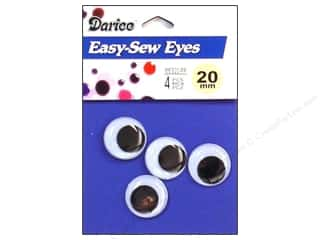 Darice Eyes Sew On Moveable 20mm Black 4pc (3 packages)