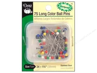 Fabric $12 - $24: Color Ball Pins - Long by Dritz Size 24 75pc.
