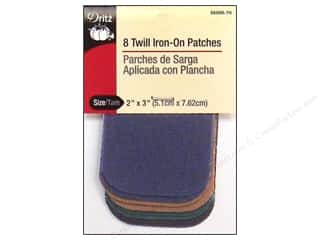 Dritz Iron On Patches Twill Dk Astd 2&quot;x 3&quot; 8pc