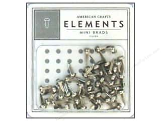 American Crafts Elements Brads Mini Silver 48pc