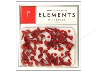 American Crafts Elements Brads Mini Cherry 50pc
