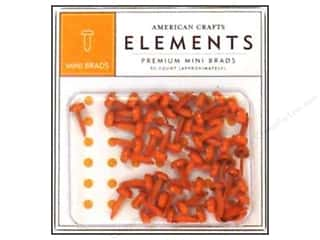 American Crafts Elements Brads Mini Carrot 50pc
