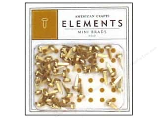 American Crafts Elements Brads Mini Gold 48pc