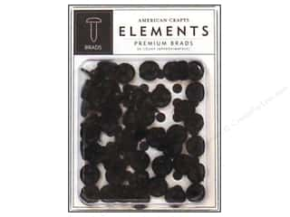 American Crafts Elements Brads Medium Black 48pc