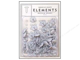 American Crafts Elements Brads Med White 48pc