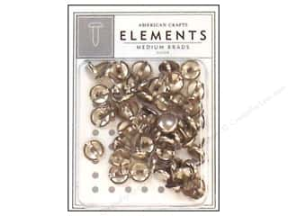 American Crafts Elements Brads Medium Silver 48pc