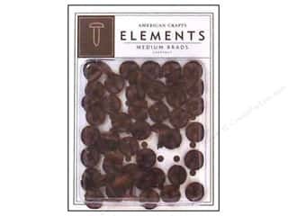American Crafts Elements Brads Medium Chestnut 50pc