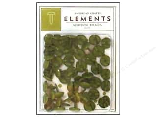 American Crafts Elements Brads Medium Olive 50pc