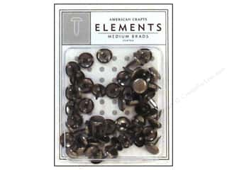 American Crafts Elements Brads Med Pewter 50pc