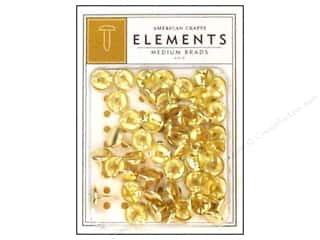 American Crafts Elements Brads Medium Gold 48pc