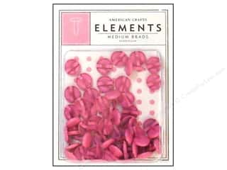 American Crafts Elements Brads Med Bubblegum 50pc