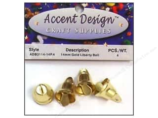 Wedding Craft & Hobbies: Accent Design Liberty Bell 14 mm 4 pc Gold (3 packages)